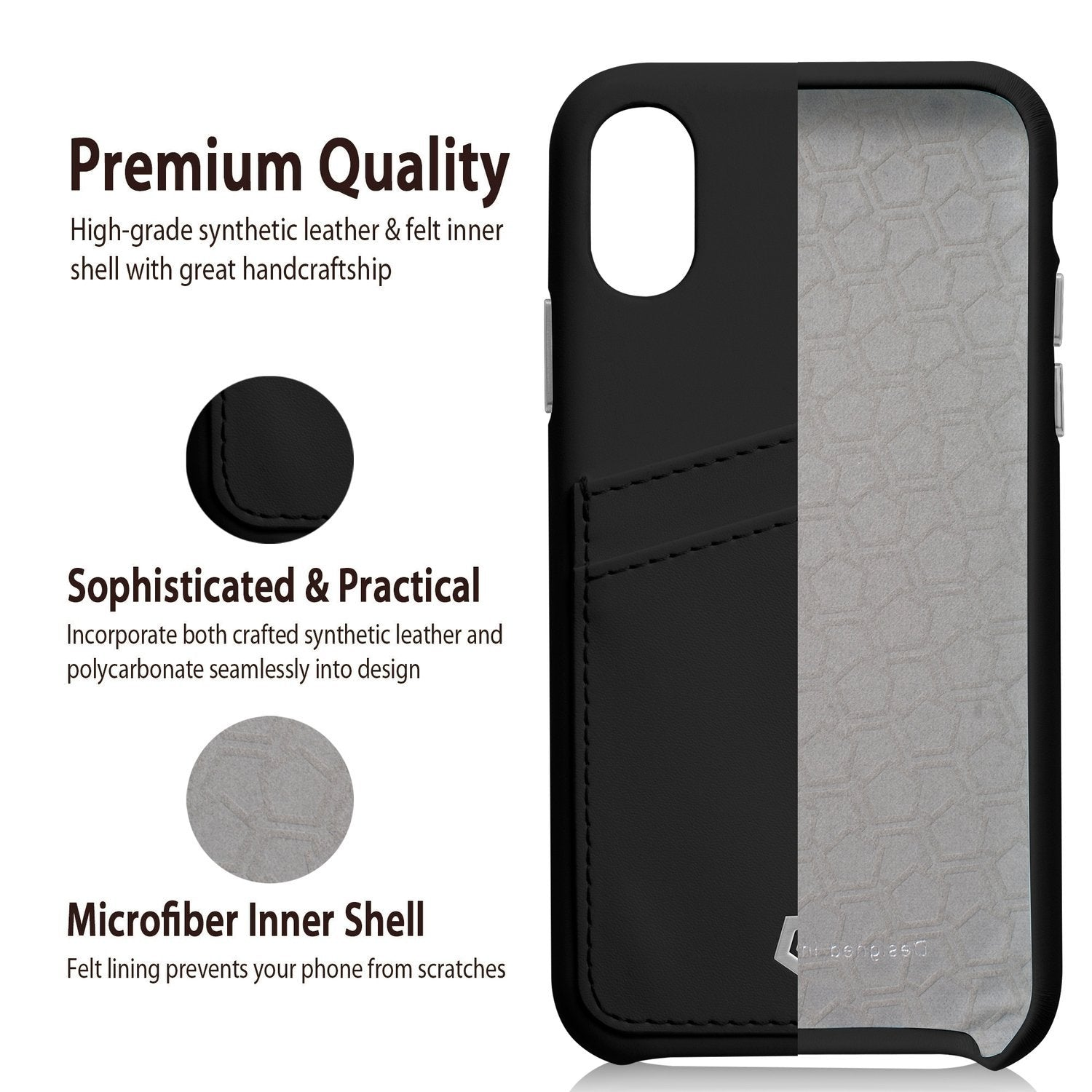 detailed look 24793 fca78 Black Leather Textured Back Cover Case for iPhone X/XS