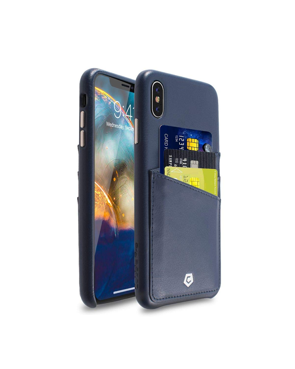 iphone xs blue leather case