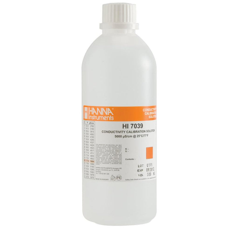 HI 7039L  5000 µS/cm EC Solution. 500 mL Bottle - Acorn Scientific