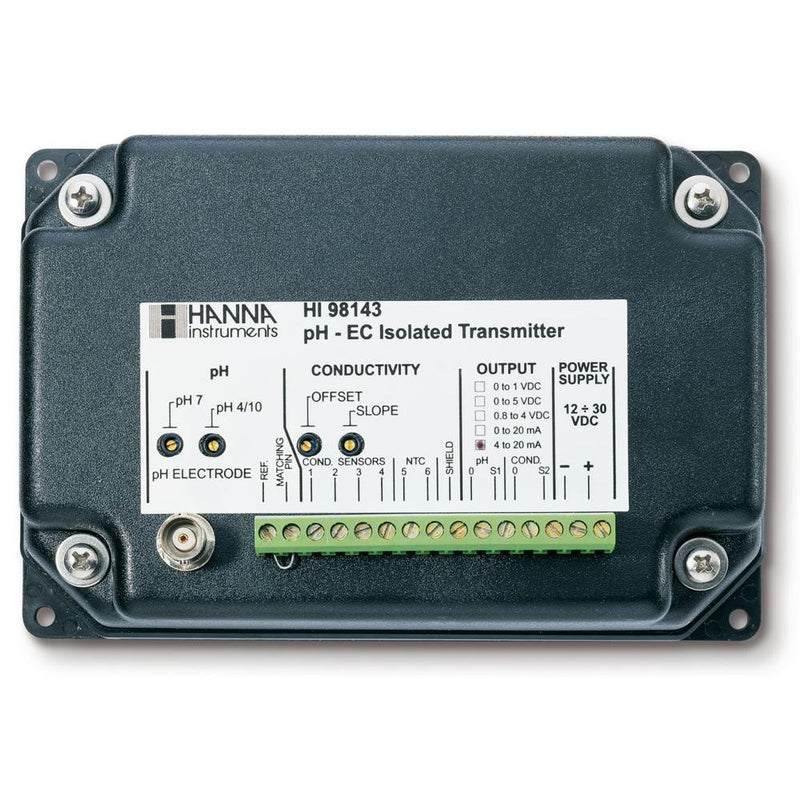 HI 98143-20  pH and EC Transmitter with Galvanic Isolated Output 4-20 mA Output