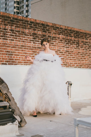 TIERED TULLE GOWN