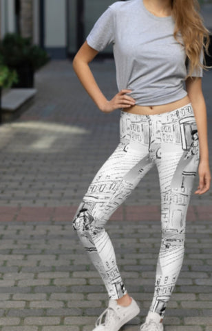 """Paris Steets"" Printed Leggings"