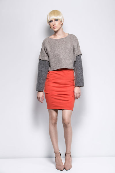 BICOLOR CROPPED SWEATSHIRT