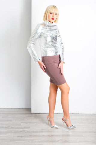 FOIL SHRUNKEN MOCK-NECK