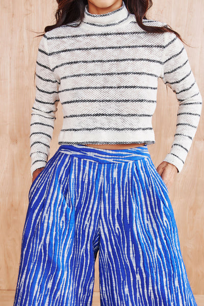 STRIPE MOCKNECK KNIT