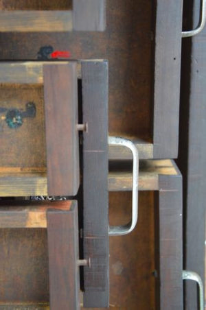 Vintage Industrial timber Engineers Chest on metal Stand