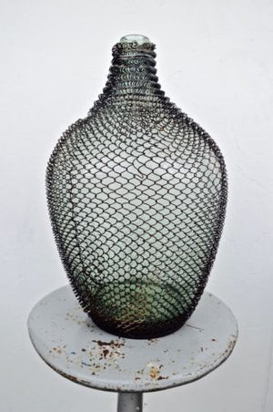 UNIQUE rare DEUTSCH German vintage industrial green jar demijohn in wire