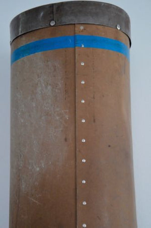 vintage industrial CZECH metal reinforced textile storage bin holder cylinder