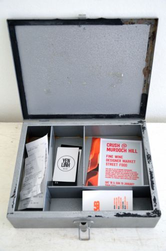 vintage hammercoat industrial metal first aid case box storage