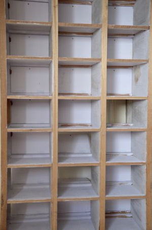 vintage industrial white painted timber 21 locker unit pigeon holes