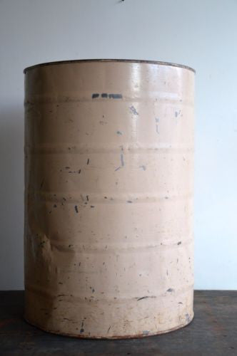 Early vintage antique large metal Factories sugar drum flour bin
