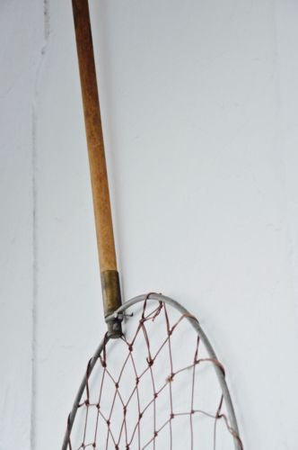 antique vintage fishing dip landing net wall display prop