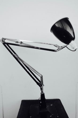 vintage industrial collectible articulating black table lamp