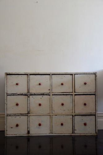 late 19th Century timber apothecary unit 12 drawer handcrafted chest of drawers