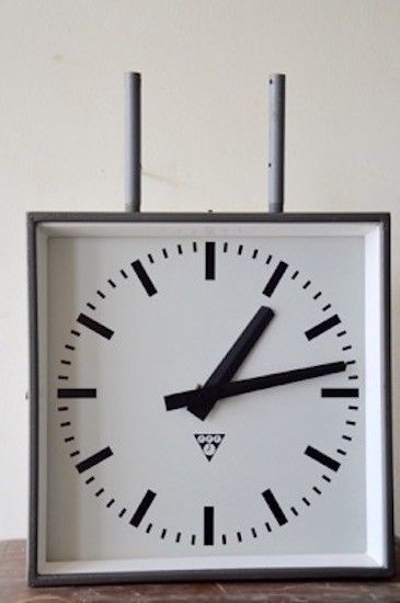 authentic vintage industrial double sided metal railway PRAGOTRON Czech clock