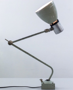 Vintage industrial Czechoslovakian metal desk lamp