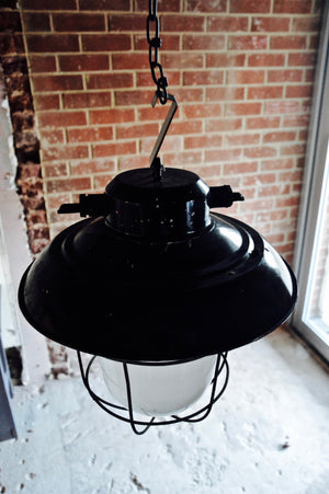 vintage industrial factory warehouse ceiling bunker light