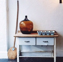 Vintage French industrial enamel butcher table