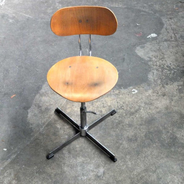 Vintage Industrial Adjustable Swivel Warehouse Factory Chair