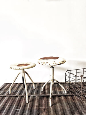 Vintage industrial stools - ONE grey left