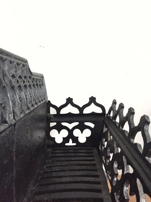 Vintage black wrought iron fire grate a/f has crack