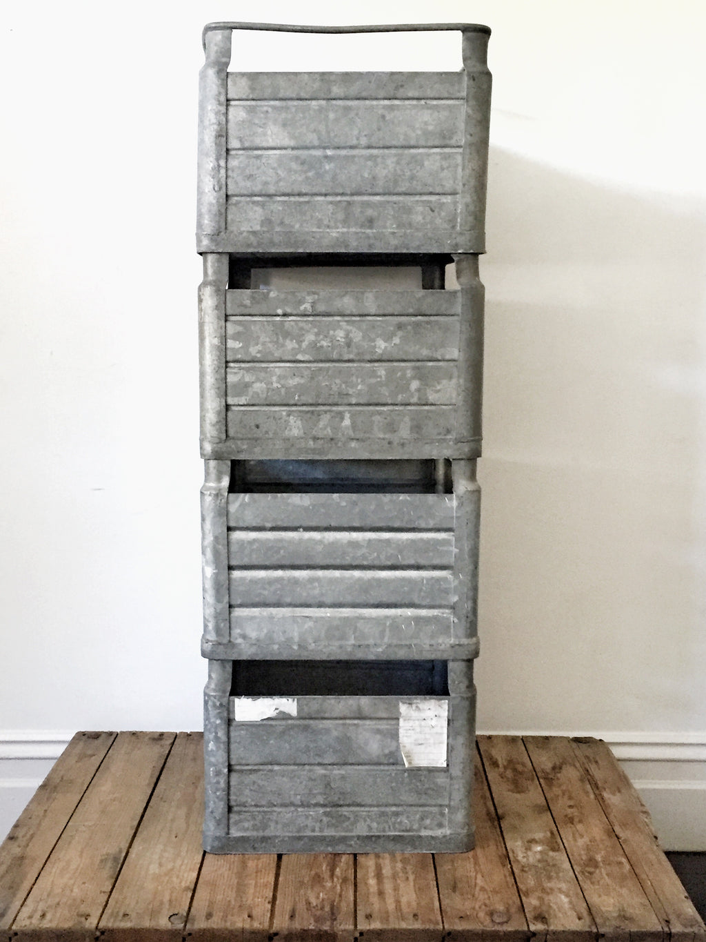 Stackable vintage metal storage bins