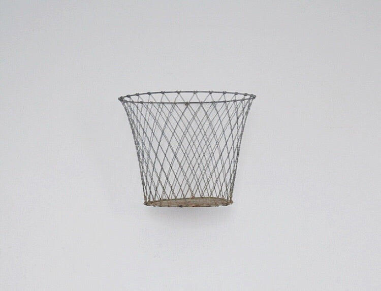 Original vintage metal wire storage basket