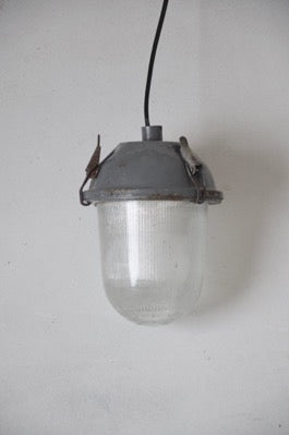 small 1960s Soviet Union Industrial Factory Ceiling Light warehouse pendant