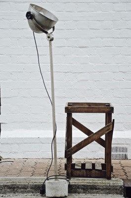 unique rare AWESOME concrete base INDUSTRIAL floor standing lamp