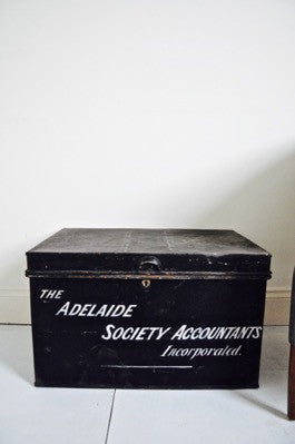 Antique Deed Box with hand painted lettering Adelaide Society Accountants