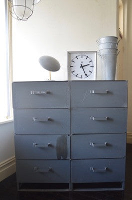 VINTAGE INDUSTRIAL METAL DRAWER STORAGE CABINET
