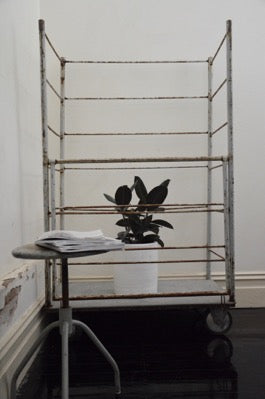 Vintage industrial mobile metal hospital display trolley storage