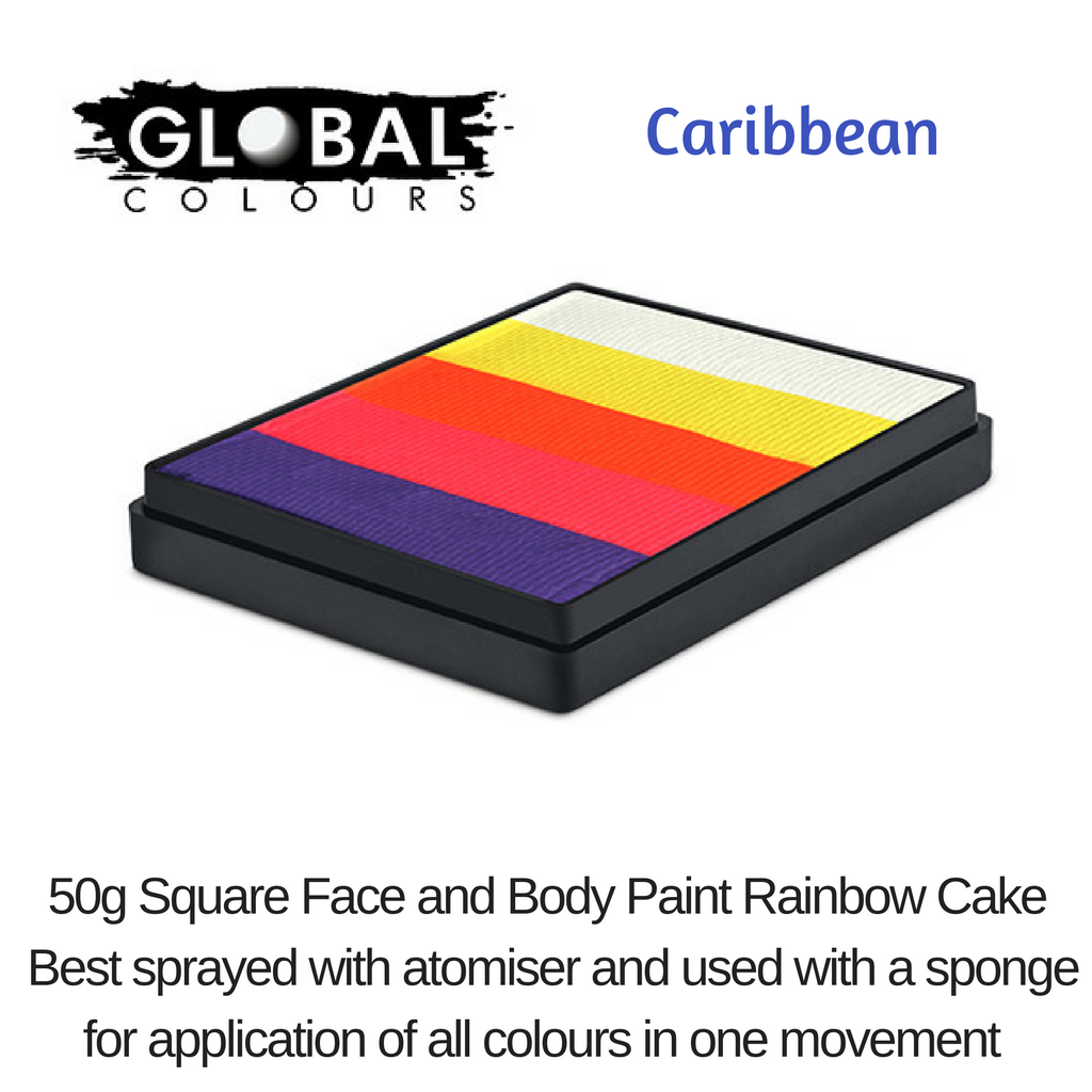 GLOBAL COLOURS # CARIBBEAN # 5 X SHADES # NEONS # SQUARE # 50g