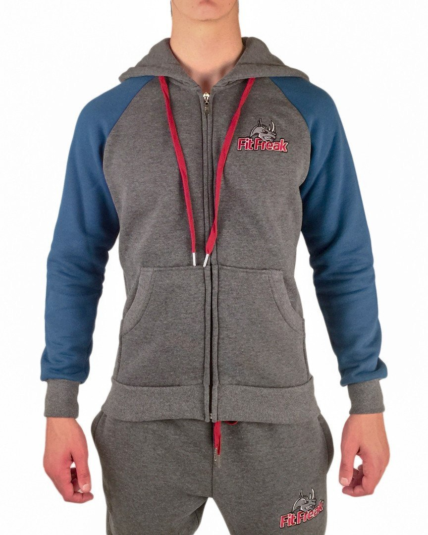 Fit Freak Signature Workout Hoodie - Grey/Blue - Fit Freak Gym Wear Fitness Apparel