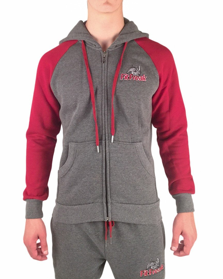 Fit Freak Signature Workout Hoodie - Grey/Red - Fit Freak Gym Wear Fitness Apparel