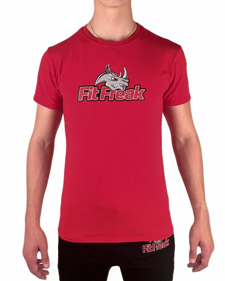 Fit Freak Signature Gym Shirt - Red - Fit Freak Gym Wear Fitness Apparel