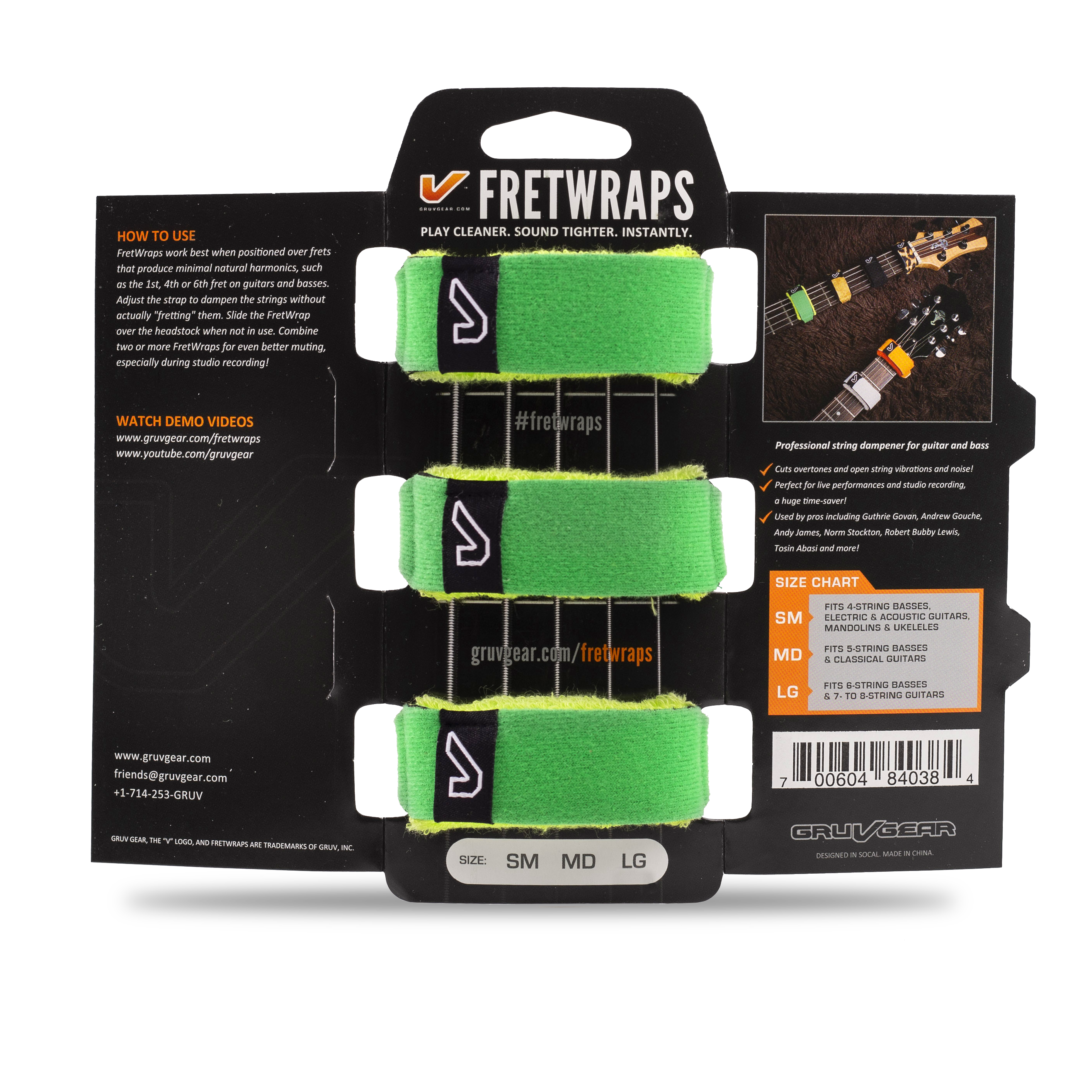 While Supplies Last!! Gruv Gear Fret Wraps HD Small 3-pack Sky Color