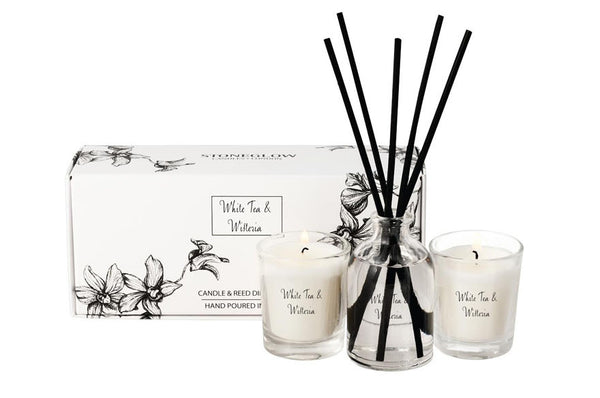 White Tea and Wisteria Candle & Reed Gift Set