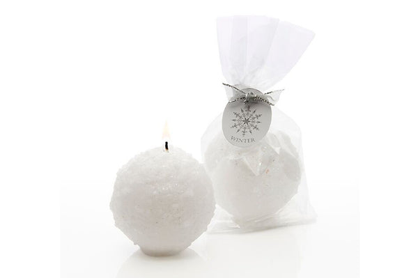 Winter Wonderland White Snowball Candle