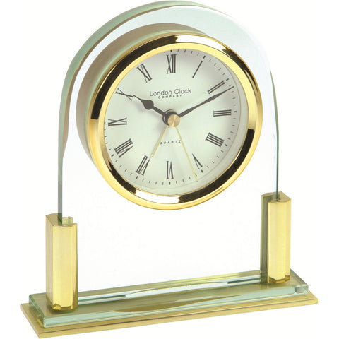 London Clock Co Modern Metal & Glass Quartz Mantel Clock