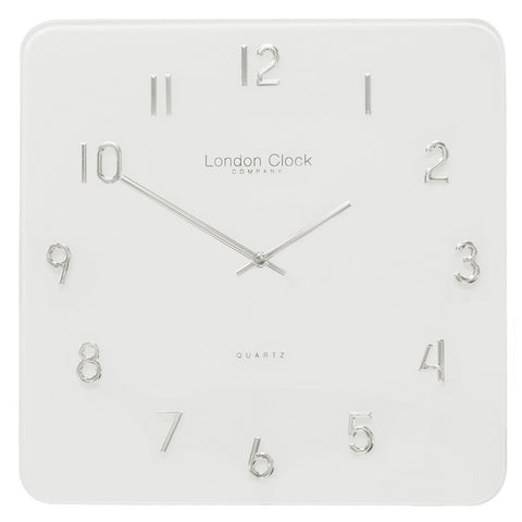 London Clock Co 35 cm Modern Square White Glass Wall Clock