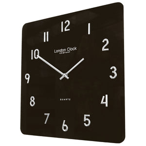 London Clock Co 35 cm Modern Square Black Glass Wall Clock