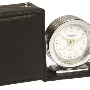 London Clock Co 5.5cm Travel Alarm in Leatherette Folding Case