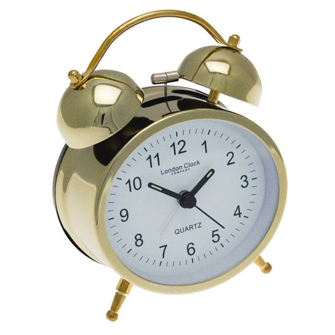 London Clock Co Traditional Gold Twin Bell Alarm Clock