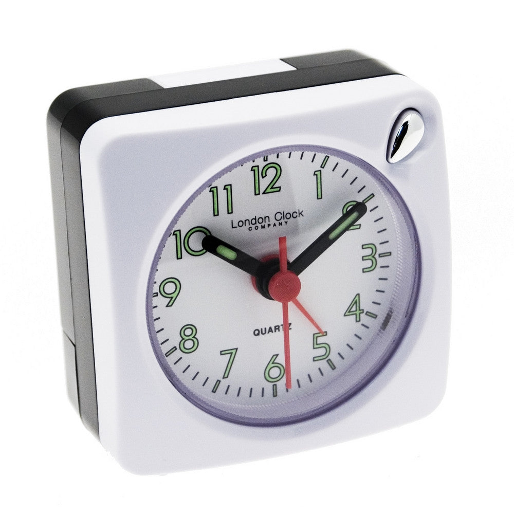 London Clock Co White Mini Travel Alarm Clock