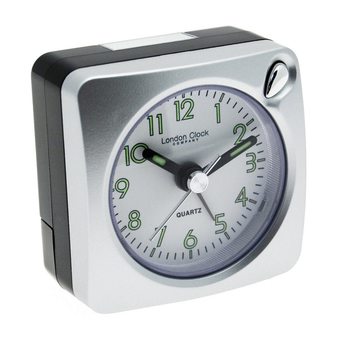 London Clock Co Silver Mini Travel Alarm Clock