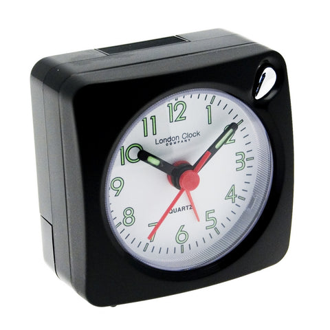London Clock Co Black Mini Travel Alarm Clock