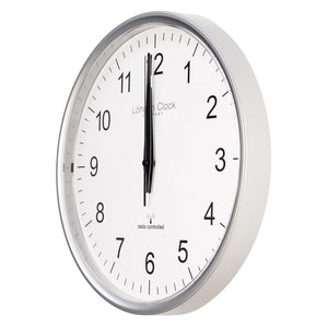London Clock Co Modern Silver Radio Controlled Wall Clock