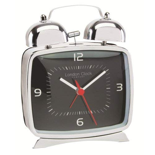 London Clock Co Retro Style Black Case Bell Alarm