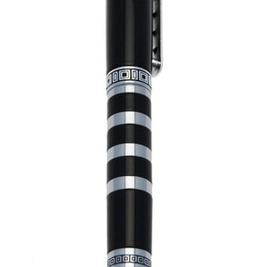 Vicci Black And Silver Patterned Metal Rollerball Pen